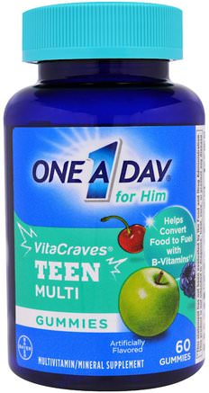 One A Day for Him, VitaCraves, Teen Multi, 60 Gummies by One-A-Day-Vitaminer, Multivitaminer, Barn Multivitaminer, Hälsa, Män