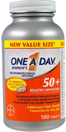 Womens 50+, Healthy Advantage, Multivitamin/Multimineral Supplement, 100 Tablets by One-A-Day-Vitaminer, Multivitaminer - Seniorer, Kvinnor Multivitaminer
