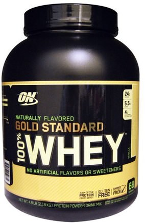 Gold Standard, 100% Whey, Natural, Vanilla, 4.8 lbs (2.18 kg) by Optimum Nutrition-Sporter