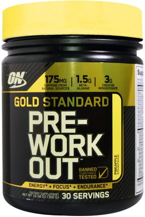 Gold Standard, Pre-Workout, Pineapple, 10.58 oz (300 g) by Optimum Nutrition-Sporter