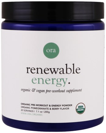 Renewable Energy, Organic Pre-Workout & Energy Powder, Pomegranate & Berry, 7.1 oz (200 g) by Ora-Hälsa, Energi, Sport