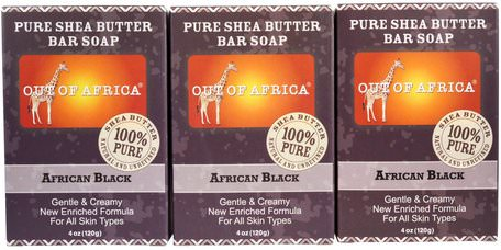 Pure Shea Butter Bar Soap, African Black, 3 Bars, 4 oz (120 g) Each by Out of Africa-Bad, Skönhet, Tvål, Svart Tvål