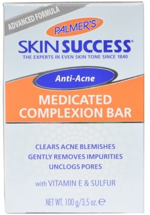 Skin Success, Anti-Acne, Medicated Complexion Bar, 3.5 oz (100 g) by Palmers-Skönhet, Akne Aktuella Produkter, Tvål