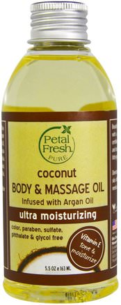 Pure, Coconut Body & Massage Oil, Ultra Moisturizing, 5.5 oz (163 ml) by Petal Fresh-Bad, Skönhet, Arganolja, Kokosnötolja