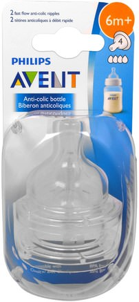 Fast Flow Anti-Colic Nipples, 6+ Months, 2 Pack by Philips Avent-Barns Hälsa, Babyfodring, Babyflaskor