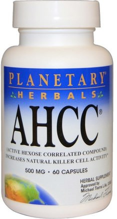 AHCC (Active Hexose Correlated Compound), 500 mg, 60 Capsules by Planetary Herbals-Kosttillskott, Medicinska Svampar, Ahcc