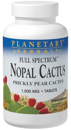 Nopal Cactus, Full Spectrum, Prickly Pear Cactus, 1.000 mg, 120 Tablets by Planetary Herbals-Hälsa, Blodsocker, Nopal (Prickly Pear Cactus Opuntia)