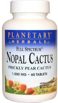 Nopal Cactus, Full Spectrum, Prickly Pear Cactus, 1.000 mg, 60 Tablets by Planetary Herbals-Hälsa, Blodsocker, Nopal (Prickly Pear Cactus Opuntia)