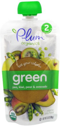 Stage 2, Eat Your Colors, Green, Pea, Kiwi, Pear & Avocado, 3.5 oz (99 g) by Plum Organics-Barns Hälsa, Babyfodring, Barnmat