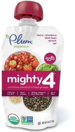 Tots, Mighty 4, Nutritious Blend of 4 Food Groups, Cherry, Strawberry, Black Bean, Spinach, Oat, 4 oz (113 g) by Plum Organics-Barns Hälsa, Babyfodring, Mat, Barnmat
