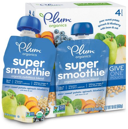 Super Smoothie, Pear, Sweet Potato, Spinach, Blueberry with Bean & Oat, 4 Pouches, 4 oz (113 g) Each by Plum Organics-Barns Hälsa, Babyfodring, Mat, Barnmat