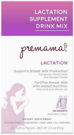 Lactation Support Drink Mix, Lactation, Mixed Berry, 28 Packets, 2.47 oz (70 g) by Premama-Barns Hälsa, Barnmat, Babyfodring, Amning