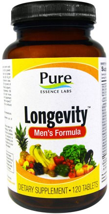 Longevity, Mens Formula, 120 Tablets by Pure Essence-Vitaminer, Män Multivitaminer, Anti-Åldrande