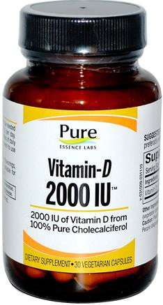 Vitamin-D, 2000 IU, 30 Veggie Caps by Pure Essence-Vitaminer, Vitamin D3
