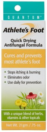 Athletes Foot, Quick Drying Antifungal Formula.75 oz (21 g) by Quantum Health-Hälsa, Idrottare Fot, Fot Fotvård
