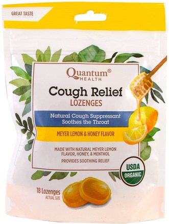 Cough Relief, Lozenges, Meyer Lemon & Honey Flavor, 18 Lozenges by Quantum Health-Hälsa, Lung Och Bronkial, Hosta Droppar