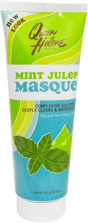 Mint Julep Masque, Oily and Acne Prone Skin, 8 oz (227 g) by Queen Helene-Hälsa, Akne, Hud Typ Akne Benägen Hud
