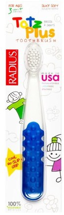 Totz Plus Toothbrush, 3+ Years, White/Blue, 1 Toothbrush by RADIUS-Bad, Skönhet, Oral Tandvård, Tandborstar, Barns Hälsa, Barnomsorg