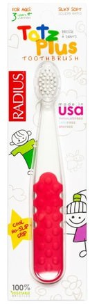 Totz Plus Toothbrush, 3+ Years, White/Pink Coral, 1 Toothbrush by RADIUS-Bad, Skönhet, Oral Tandvård, Tandborstar, Barns Hälsa, Barnomsorg