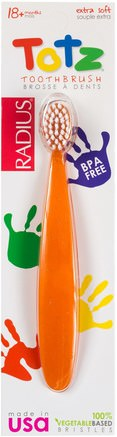 Totz Toothbrush, 18 + Months, Extra Soft, Orange Sparkle by RADIUS-Bad, Skönhet, Oral Tandvård, Tandborstar, Barns Hälsa, Barnomsorg