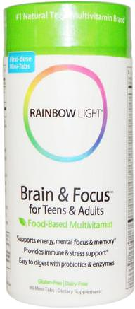 Brain & Focus for Teens & Adults, Food-Based Multivitamin, 90 Mini-Tabs by Rainbow Light-Vitaminer, Multivitaminer, Barn Multivitaminer