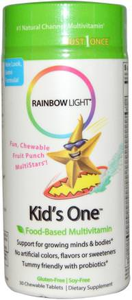 Kids One, MultiStars, Food-Based Multivitamin, Fruit Punch, 30 Chewable Tablets by Rainbow Light-Vitaminer, Multivitaminer, Barn Multivitaminer