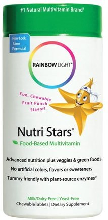 Nutri Stars, Food-Based Multivitamin, Fruit Punch Flavor, 60 Chewable Tablets by Rainbow Light-Vitaminer, Multivitaminer, Barn Multivitaminer