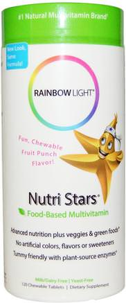 Nutri Stars, Food-Based Multivitamin, Fruit Punch Flavor, 120 Chewable Tablets by Rainbow Light-Vitaminer, Multivitaminer, Barn Multivitaminer