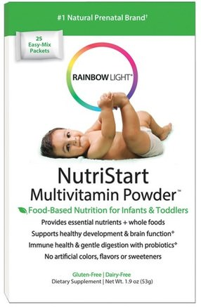 NutriStart, Multivitamin Powder, 25 Easy-Mix Packets, 1.9 oz (53 g) by Rainbow Light-Barns Hälsa, Bebis, Spädbarnstillskott, Multivitaminer, Barn Multivitaminer