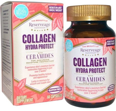 Collagen Hydra Protect, with Ceramides, 60 Capsules by ReserveAge Nutrition-Hälsa, Ben, Osteoporos, Kollagen Typ Ii, Fytoceramider