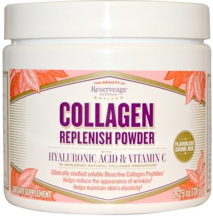 Collagen Replenish Powder, Flavorless Drink Mix, 2.75 oz (78 g) by ReserveAge Nutrition-Hälsa, Ben, Osteoporos, Anti-Åldrande, Kollagen