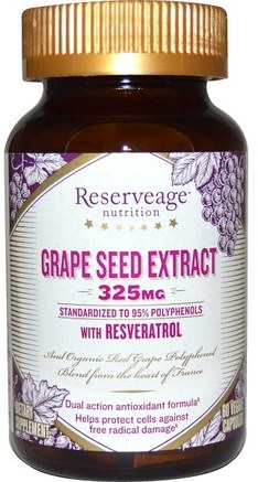 Grape Seed Extract, 325 mg, 60 Veggie Caps by ReserveAge Nutrition-Kosttillskott, Antioxidanter, Antioxidant, Druvfrö Extrakt