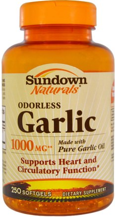 Odorless Garlic, 1.000 mg, 250 Softgels by Sundown Naturals-Kosttillskott, Antibiotika, Vitlökolja