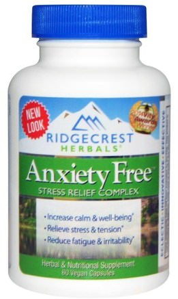 Anxiety Free, Stress Relief Complex, 60 Vegan Caps by RidgeCrest Herbals-Hälsa, Ångest