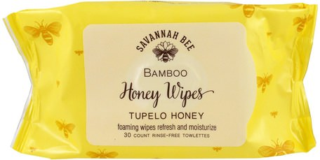 Bamboo Honey Wipes, Tupelo Honey, 30 Towelettes by Savannah Bee Company Inc-Bad, Skönhet, Hälsa