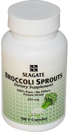 Broccoli Sprouts, 250 mg, 100 Veggie Caps by Seagate-Kosttillskott, Broccoli Korsverk, Hälsa
