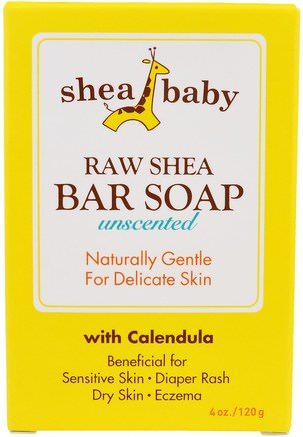 Raw Shea Bar Soap, Unscented, 4 oz (120 g) by Shea Baby Shea Mama-Barnens Hälsa, Barnbad