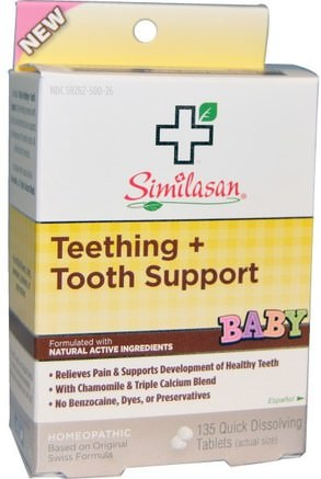 Baby Teething + Tooth Support, 135 Quick Dissolving Tablets by Similasan-Barns Hälsa, Barnsjukdomar, Homeopati Smärtlindring