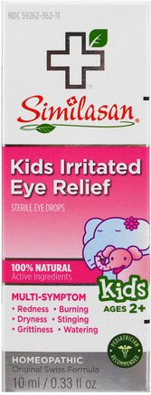 Kids Irritated Eye Relief, Sterile Eye Drops, Ages 2+, 0.33 fl oz (10 ml) by Similasan-Kosttillskott, Homeopati, Barns Hälsa