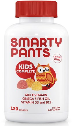 Kids Complete Multivitamin Omega 3 Fish Oil Vitamin D3 and B12, 120 Gummies by SmartyPants-Vitaminer, Multivitaminer, Multivitamingummier, Barnhälsa, Barngummier