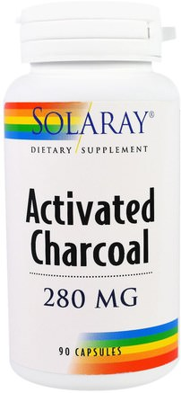 Activated Charcoal, 280 mg, 90 Capsules by Solaray-Sverige