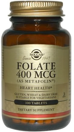 Folate, As Metafolin, 400 mcg, 100 Tablets by Solgar-Vitaminer, Folsyra, 5-Mthf Folat (5 Metyltetrahydrofolat)