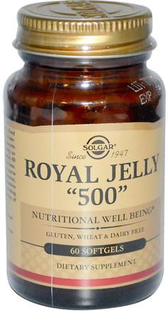 Royal Jelly 500, 60 Softgels by Solgar-Kosttillskott, Biprodukter, Royal Gelé