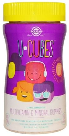 U-Cubes, Childrens Multi-Vitamin & Mineral Gummies, 60 Gummies by Solgar-Vitaminer, Multivitaminer, Multivitamingummier, Barn Multivitaminer