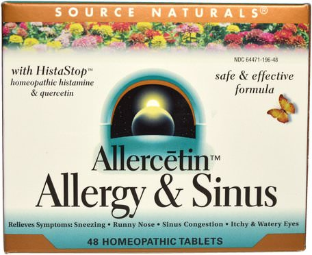 Allercetin, Allergy & Sinus, 48 Homeopathic Tablets by Source Naturals-Kosttillskott, Homeopati, Allergier
