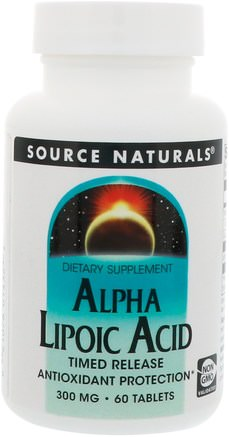 Alpha Lipoic Acid, Timed Release, 300 mg, 60 Tablets by Source Naturals-Alfa Lipoic Syra, Alfa Lipoic Acid 300 Mg, Kosttillskott, Antioxidanter