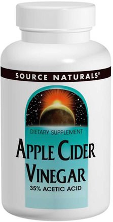 Apple Cider Vinegar, 500 mg, 180 Tablets by Source Naturals-Kosttillskott, Äppelcidervinäger