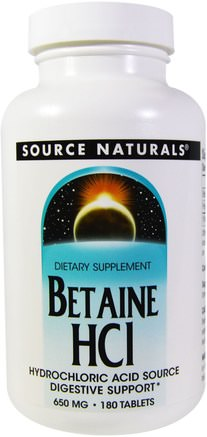 Betaine HCL, 650 mg, 180 Tablets by Source Naturals-Kosttillskott, Betainhcl, Glukosaminhydroklorid