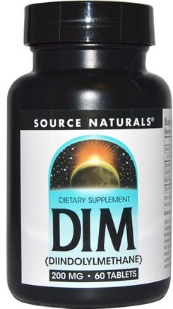 DIM (Diindolylmethane), 200 mg, 60 Tablets by Source Naturals-Kosttillskott, Broccolikors, Diindolylmetan (Dim)