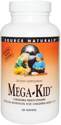 Mega-Kid, Chewable Multi-Vitamin, Natural Berry Flavors, 60 Wafers by Source Naturals-Vitaminer, Barn Multivitaminer